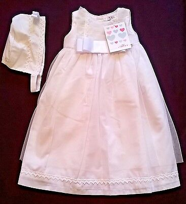 fabulous Spanish christening gown Confecciones Alber white cotton Blend NB new