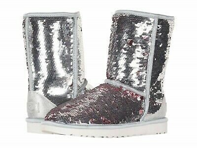 b8140424758 UGG AUSTRALIA SEQUIN Silver Purple Lined Classic Short Boots Women's ...