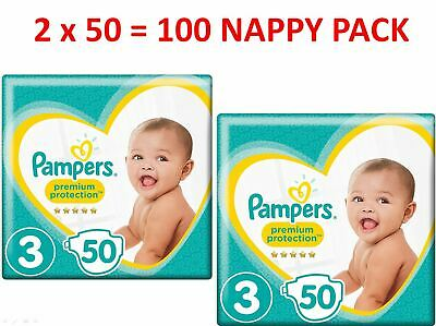 Pampers Premium Protection Size 3 (6-10kgs) 2 x 50 = 100 Nappy Pack