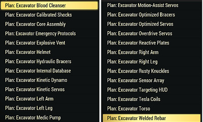 FALLOUT 76 (PC) Excavator Power Armor Plans (ALL mod plans and all