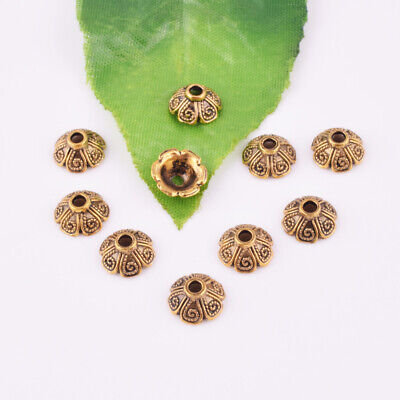 Hot Tibetan Silver/Gold Flower Charm Beads End Caps Jewelry Findings DIY 9X4mm