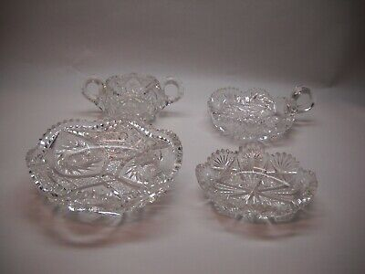 SET OF 4 Cut Glass Items SUGAR Bowl  ROUND Dish CANDY Dish OVAL Dish