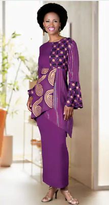 Ashro Purple Gold Ethnic African American Queens Quad Skirt Set M L XL 1X 2X 3X