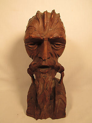 Vintage Hand Carved Don Quixote Wood Bearded Man's Head Bust Statue