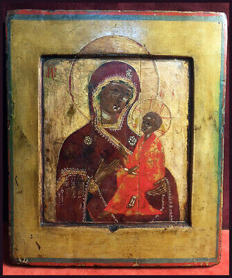 """Antique Russian Icon of the Mother of God """"Tikhvin"""""""