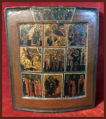 Antique Russian Icon of Nine Scenes with the Holy Trinity