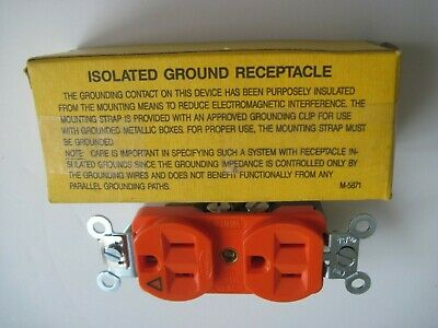 2-Hubbell IG-5262 Orange ISOLATED GROUND Duplex Receptacle Outlet 15A 125V
