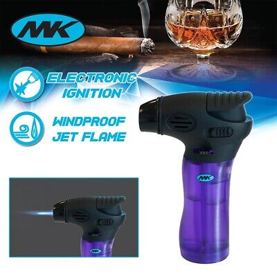 MK Lighter Jet Torch Adjustable Flame Windproof Safety Lock Refillable Purple