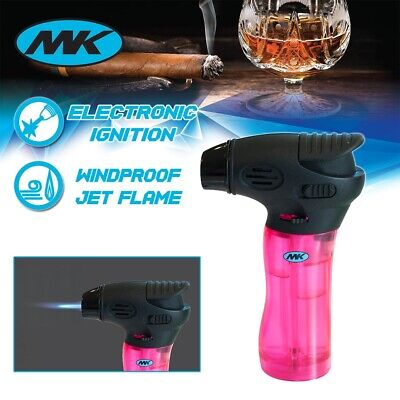 MK Lighter Jet Torch Adjustable Flame Windproof Safety Lock Refillable Gas Pink