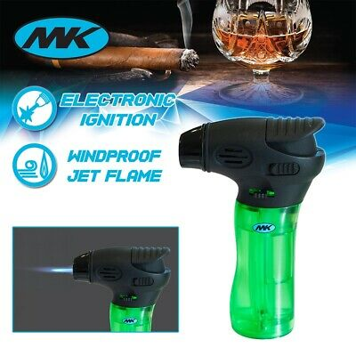 MK Lighter Jet Torch Adjustable Flame Windproof Safety Lock Refillable Gas Green