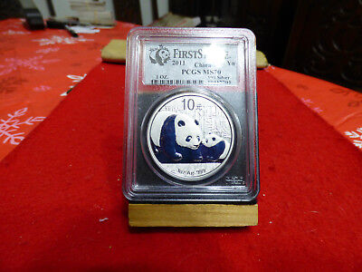 2011   Silver  China  Panda  Bear   Coin  .999    Ms 70  Pcgs  First Strike