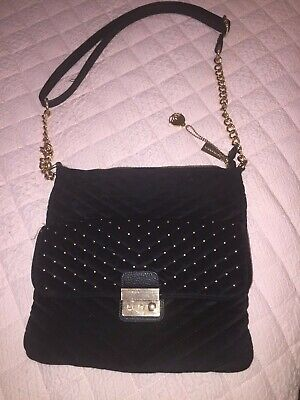 Womens black velor bag, purse, Big  Buddha, gold hardware and gold studs