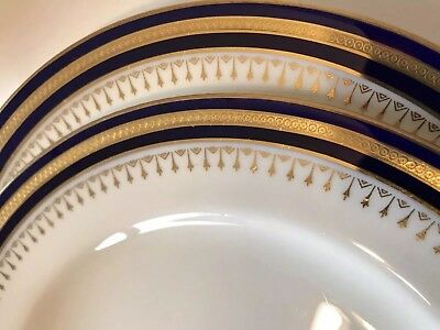 2 Antique Minton Cobalt Blue Raised Gold Encrusted Cabinet Dinner Plates 8.75""