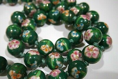 Vintage Chinese Cloisonne Hand Knotted Green Bead Necklace Floral Design