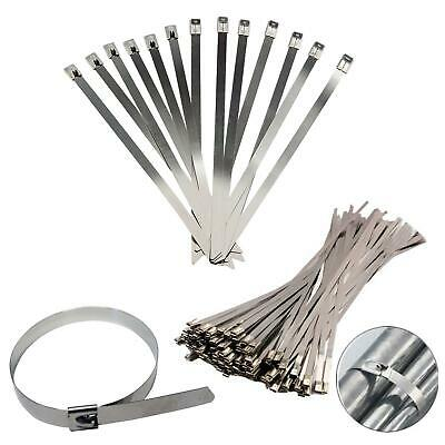 Stainless Steel Metal Cable Ties Zip Wrap Exhaust Heat Straps Induction Pipe Vat