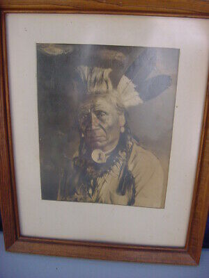 "Antique Native American Photograph ""Weasel Tail""  From Glacier Park Photo Shop"