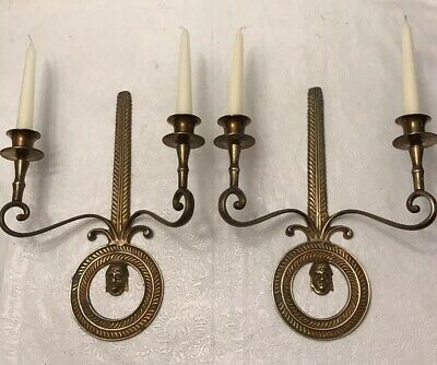 """Vintage Pair of Pure Brass Wall Sconces, Candle holders 2arms 13""""H x10""""W"""