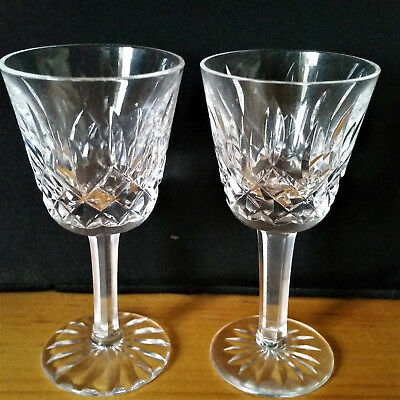 """Two Vintage Waterford Crystal Lismore 1 oz Liqueur Glasses 3½"""" Great for Dolls!"""