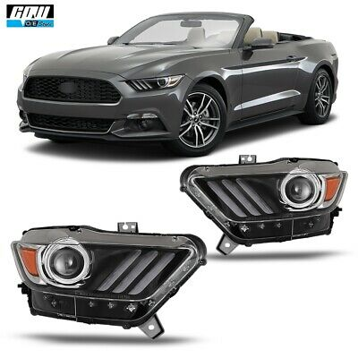 15-17 Fit Ford Mustang Aftermarket  Replacement Projector Headlights Headlamps