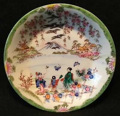 19th c. Kutani Hand Painted Japanese Eggshell Porcelain Small Raised Rim Bowl