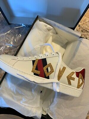 d42c58c7d NEW* Gucci Ace Loved Leather Trainer White Women's Size 38.5EU w/ *Gift