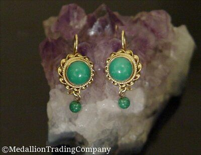 Antique Victorian 14k Persian Blue Green Turquoise Bead Kidney Wire Earrings