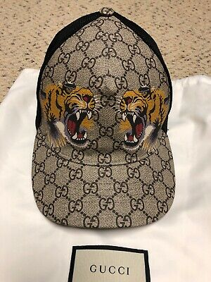 88d074ee Authentic Gucci Gg Supreme Canvas Tigers Print Baseball Cap Hat 61/Xxl Italy