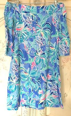 5ac7c5e3bb5885 Lilly Pulitzer Off-The-Shoulder Laurana Dress Bennet Blue/Celestial Seas - S