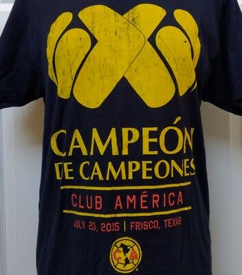 555b83092 Campeon de Campeones Club America Texas 2015 Mexico Soccer Black Shirt M  Cotton
