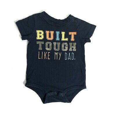 FIRST IMPRESSIONS 12 Month Baby Boy Built Tough Like Dad Short Sleeve Bodysuit