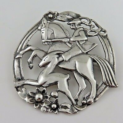 Art Deco  Sterling Silver Hand Made Medieval Knight  Brooch Pin