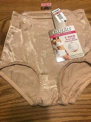 48b59b2bc98a NWT Cupid Womens Briefs Light Control Panties 2 Pair Sz L Beige/ Nude  Support