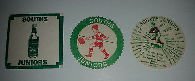 Souths Juniors Rugby League club 3 different old drinks coasters