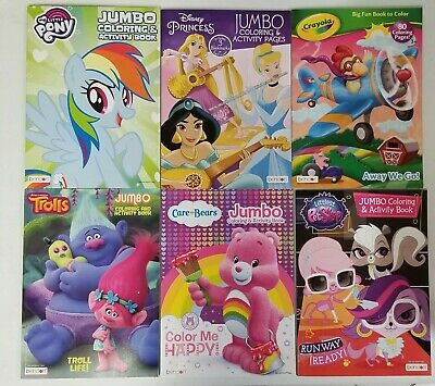 Lot Of 6 Jumbo Coloring Books Disney Princess Trolls My Little Pony Care Bears