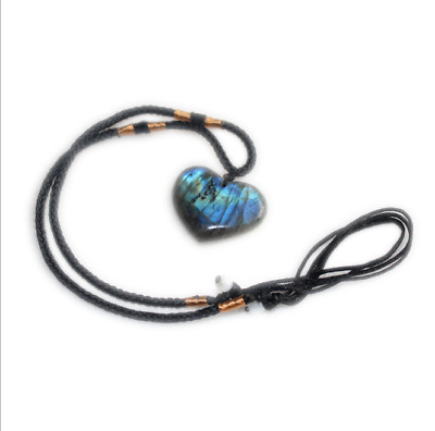 Heart Natural Labradorite Pendant Crystal  Necklace Healing Stone Necklace New
