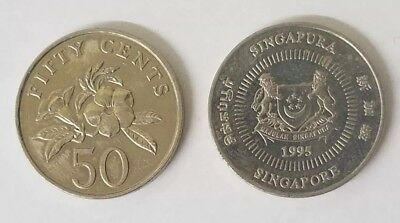Lot Of 2 Singapore 50 Cent 1995 Republic Of Sinapore Coins