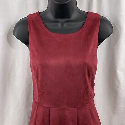 Maroon Red Dress Large Suede Sleeveless Jumper Fit Flare Zipper Ya Los Angeles