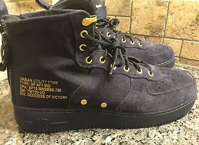 Nike Air Force 1 SF AF1 MID Navy Blue Mens Size 14- One MISSING Strap/See Pics