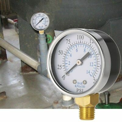 "Air Oil Water Pressure 1/4""NPT Gauge 0-200PSI Manometer 0-14 Bar Side Mount"
