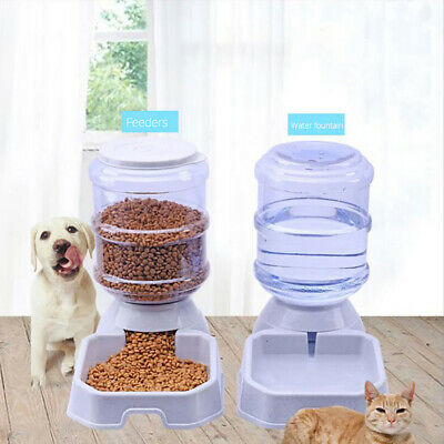 3.8L Large Automatic Pet Food Drink Dispenser Dog Cat Feeder Water Bowl Trendy