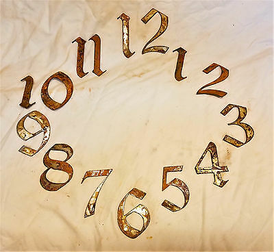 "3"" Gothic Old English Numbers 1-12 Rough Rusty Metal Vintage Clock Set Craft DIY"