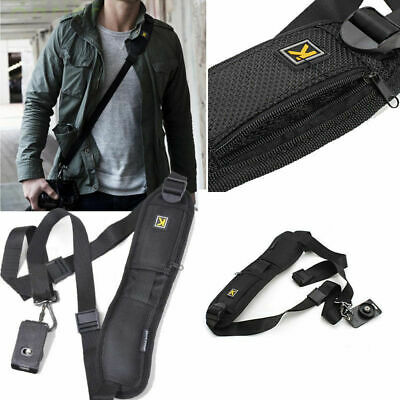 Black Single Shoulder Sling Belt Strap for DSLR Digital SLR Camera Quick Rapid E