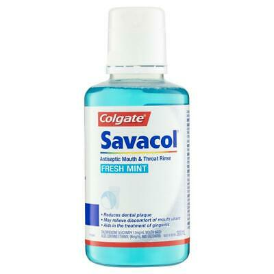 Colgate Savacol Antiseptic Mouth & Throat Rinse 300Ml Fresh Mint Clear Plaque