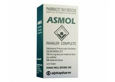 Asmol Inhaler 200 Doses for Astma Bronchitis Emphysema Breathing Remedies