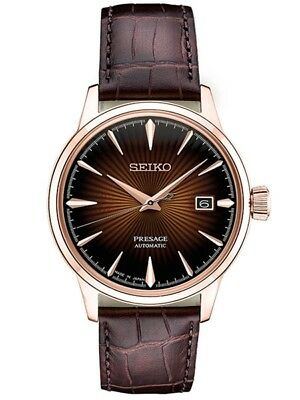 New Seiko SRPB46 Men's Presage Automatic Sunray Dial Leather Rose Tone Watch