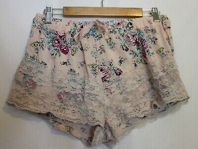 PETER ALEXANDER ~ Pale Pink w Black Green Floral Print Lace Trim Sleep Shorts M