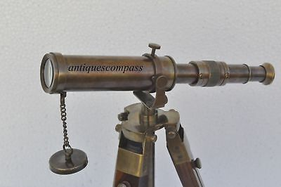 Antique Nautical Vintage Decorative Solid Brass with Wooden Tripod Telescope