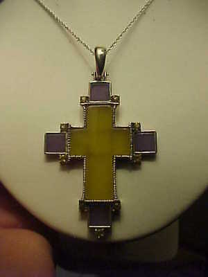 Beautiful Yellow  Lavender Jade Christian CROSS Pendant Necklace Sterling Silver