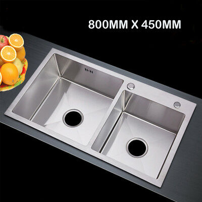 800x450mm 304 Stainless Steel Kitchen Double Sink Bowl Under/Top mount Handmade