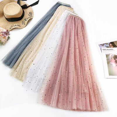 AU Women Summer High Waist Long Mesh Tutu Skirt Star Pleated Princess Half Skirt